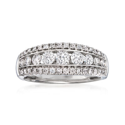 C. 1990 Vintage 1.25 ct. t.w. Diamond Multi-Row Ring in 14kt White Gold