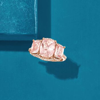 4.00 ct. t.w. Morganite and .25 ct. t.w. Diamond Ring in 14kt Rose Gold, , default