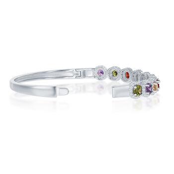 "6.10 ct. t.w. Multicolored CZ Halo Bangle Bracelet in Sterling Silver. 7.5"", , default"