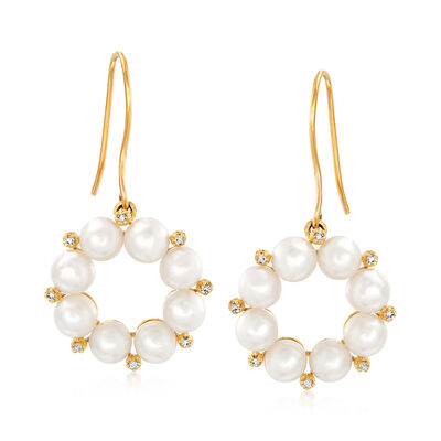 4-4.5mm Cultured Pearl and .10 ct. t.w. Diamond Drop Earrings in 14kt Yellow Gold, , default