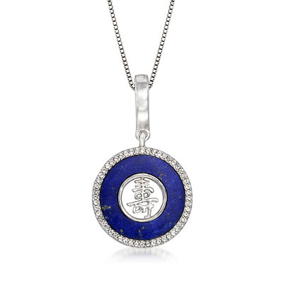 "Lapis and .50 ct. t.w. White Topaz ""Long Life"" Pendant Necklace in Sterling Silver, , default"