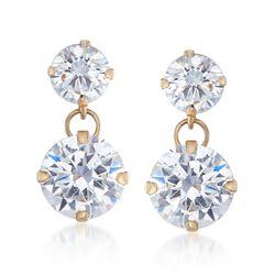 3.50 ct. t.w. CZ Double Drop Earrings in 14kt Yellow Gold, , default