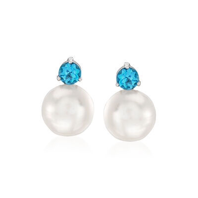 11-11.5mm Cultured Pearl and 1.20 ct. t.w. Blue Topaz Earrings in Sterling Silver