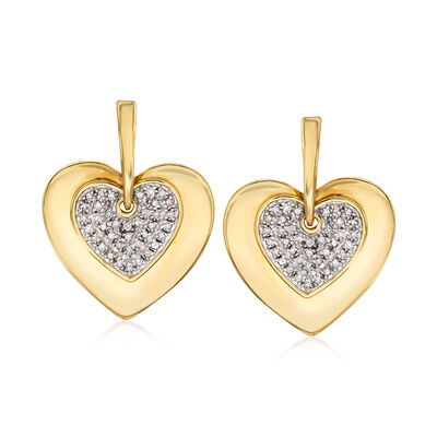 .25 ct. t.w. Diamond Heart Drop Earrings in 14kt Yellow Gold