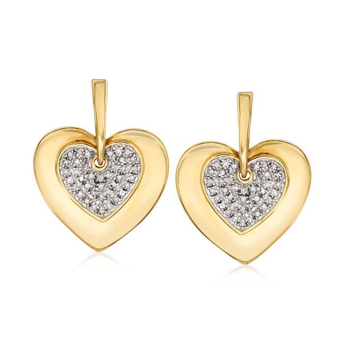 .25 ct. t.w. Diamond Heart Drop Earrings in 14kt Yellow Gold, , default