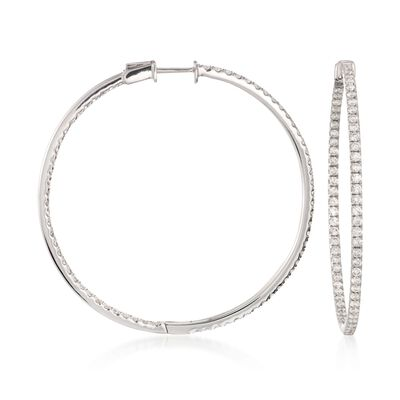 2.40 ct. t.w. Diamond Inside-Outside Hoop Earrings in 18kt White Gold, , default