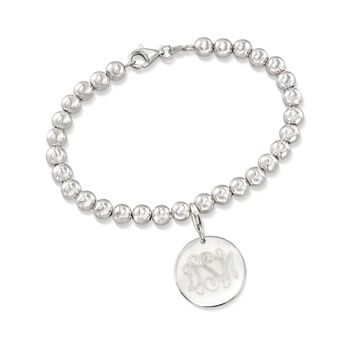 Italian 6mm Sterling Silver Bead Bracelet With Personalized Disc Charm, , default