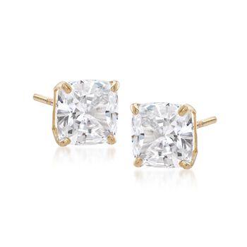 5.00 ct. t.w. Cushion-Cut CZ Stud Earrings in 14kt Yellow Gold , , default