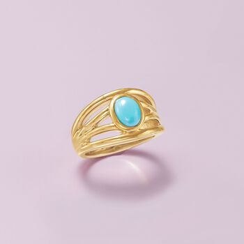 Turquoise Openwork Ring in 14kt Yellow Gold, , default