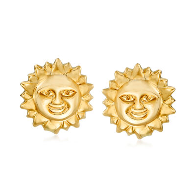 14kt Yellow Gold Sun Earrings, , default