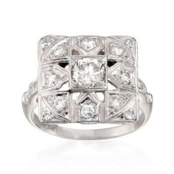 C. 1950 Vintage 1.00 ct. t.w. Diamond Square-Top Ring in 14kt White Gold. Size 7.75, , default