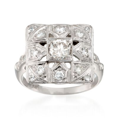 C. 1950 Vintage 1.00 ct. t.w. Diamond Square-Top Ring in 14kt White Gold, , default