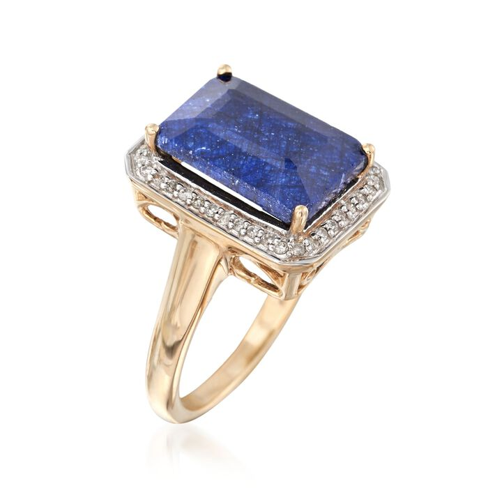 7.00 Carat Sapphire and .20 ct. t.w. Diamond Ring in 14kt Yellow Gold
