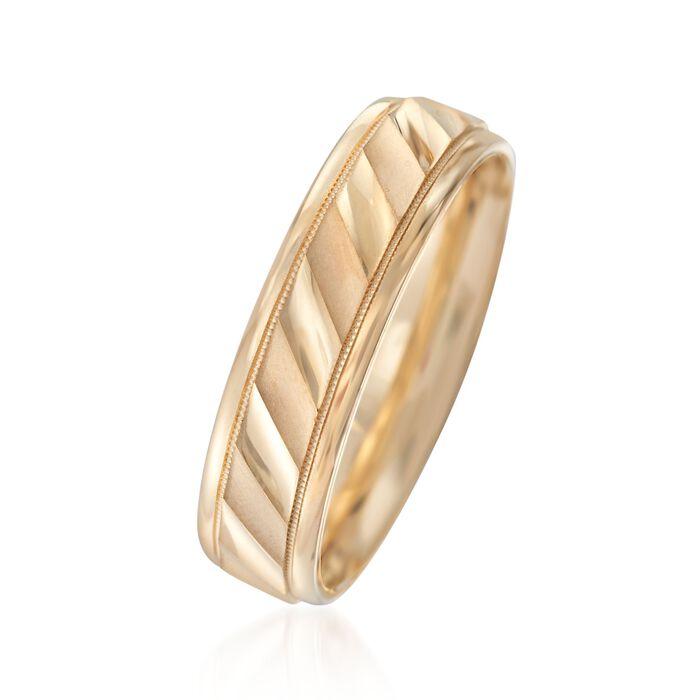 Men's 6mm 14kt Yellow Gold Satin Wedding Ring