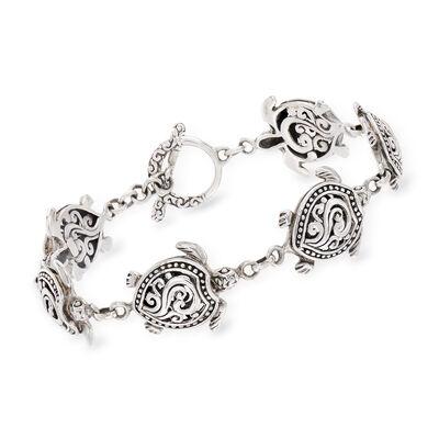 Sterling Silver Turtle Bali-Style Bracelet, , default