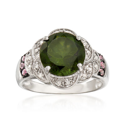 C. 1980 Vintage 2.50 Carat Moldavite and .10 ct. t.w. Pink Topaz With Diamond Accents in 10kt White Gold, , default