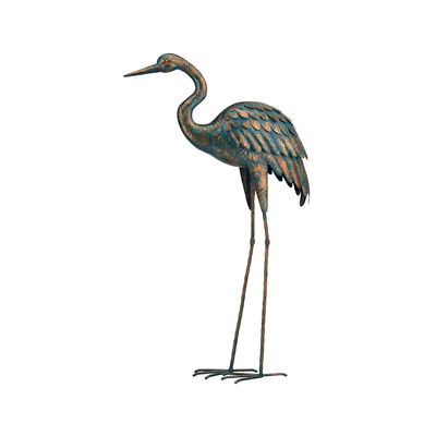 Regal Patina Metal Outdoor Crane Statue, , default