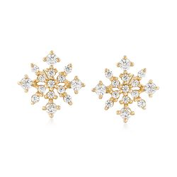 .23 ct. t.w. CZ Snowflake Stud Earrings in 14kt Yellow Gold, , default