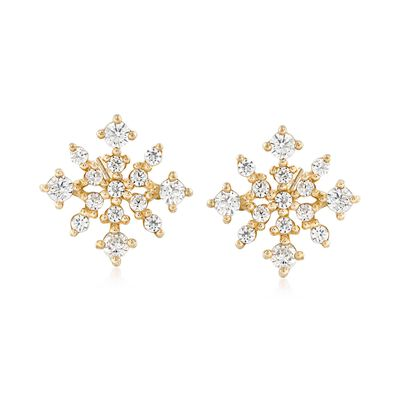 .23 ct. t.w. Polished CZ Snowflake Stud Earrings in 14kt Yellow Gold, , default