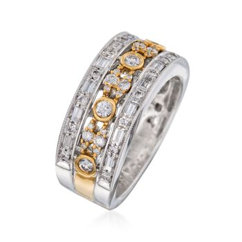 .94 ct. t.w. Diamond Milgrain Ring in 14kt Two-Tone Gold. Size 7, , default