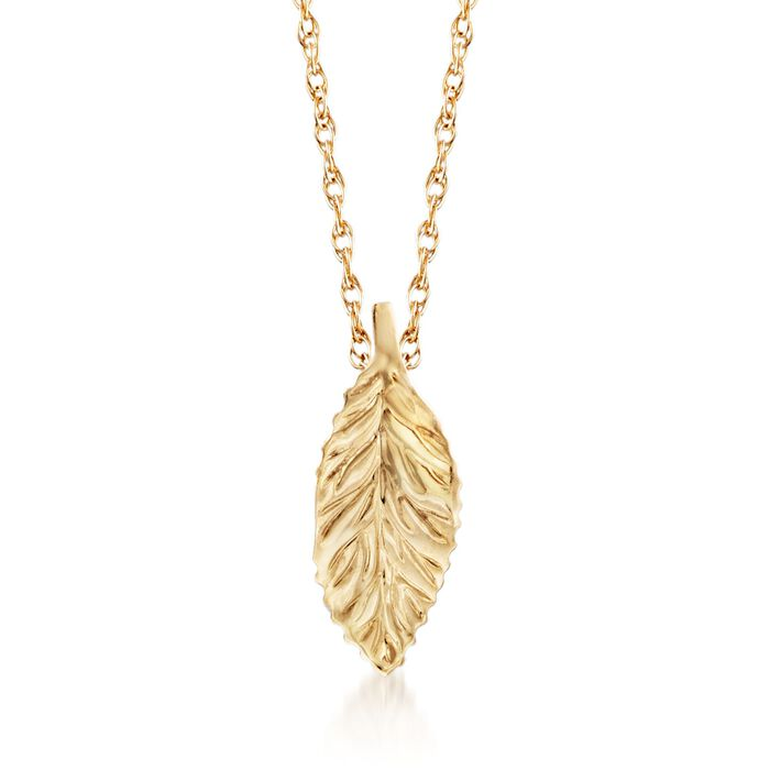 14kt Yellow Gold Curved Leaf Pendant Necklace