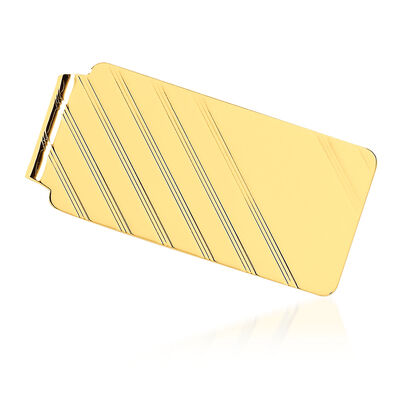 14kt Yellow Gold Polished Single-Initial Engravable Money Clip, , default