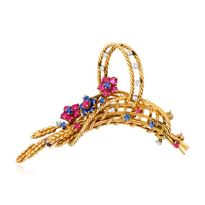 C. 1970 Vintage 2.50 ct. t.w. Ruby, 1.30 ct. t.w. Sapphire and .40 ct. t.w. Diamond Flower Basket Pin in 18kt Yellow Gold