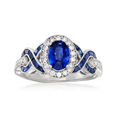 2.30 ct. t.w. Sapphire and .37 ct. t.w. Diamond Ring in 14kt White Gold