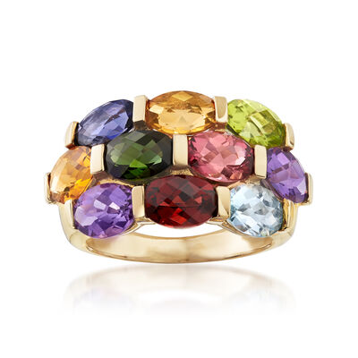 C. 1990 Vintage 4.55 ct. t.w. Multi-Gemstone Ring in 14kt Yellow Gold