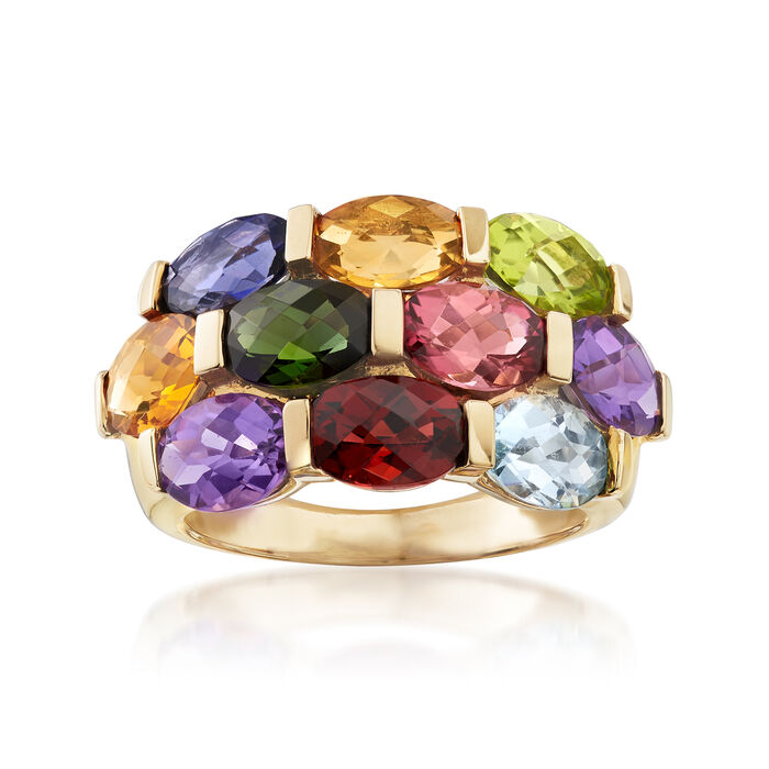 C. 1990 Vintage 4.55 ct. t.w. Multi-Gemstone Ring in 14kt Yellow Gold. Size 7, , default