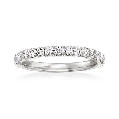 Henri Daussi .45 ct. t.w. Pave Diamond Wedding Ring in 18kt White Gold
