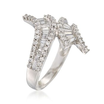 1.35 ct. t.w. Baguette and Round Diamond Bypass Ring in 14kt White Gold