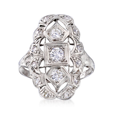 C. 1935 Vintage .55 ct. t.w. Diamond Filigree Ring in Platinum, , default