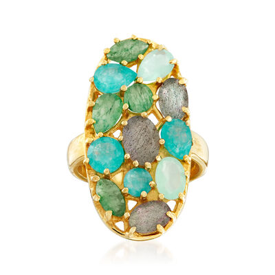 Multi-Gem Oval Ring in 18kt Gold Over Sterling , , default