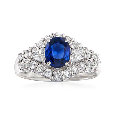 C. 1990 Vintage 1.02 Carat Sapphire and .82 ct. t.w. Diamond Ring in Platinum