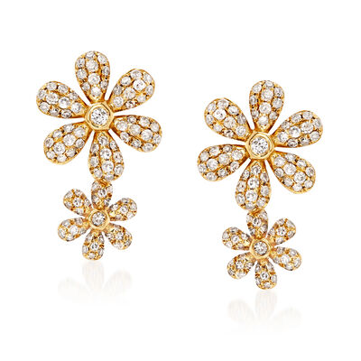 .56 ct. t.w. Diamond Double-Flower Earrings in 18kt Yellow Gold, , default