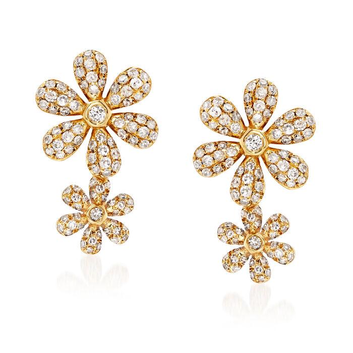 .56 ct. t.w. Diamond Double-Flower Earrings in 18kt Yellow Gold