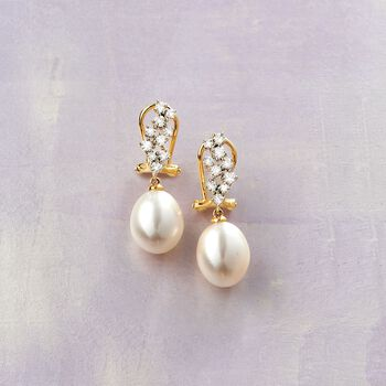 9-9.5mm Cultured Pearl and .47 ct. t.w. Diamond Drop Earrings in 14kt Yellow Gold, , default