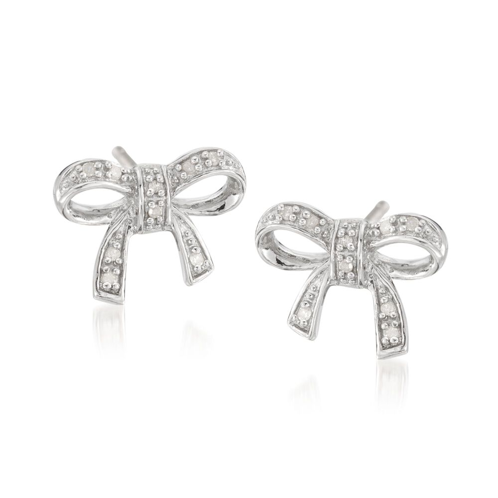 Sterling Silver Bow Earrings With Diamond Accents Default