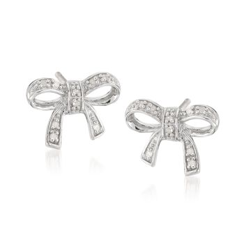 Sterling Silver Bow Earrings With Diamonds, , default