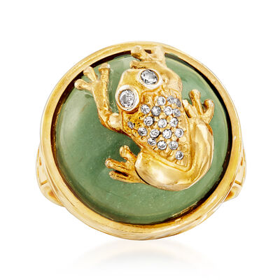 Italian Aventurine and .13 ct. t.w. CZ Frog Ring in 18kt Gold Over Sterling