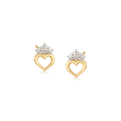 Child's Disney Princess 14kt Two-Tone Gold Heart and Crown Stud Earrings