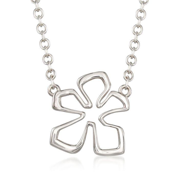 "Zina Sterling Siler Medium ""Tiki"" Flower Necklace. 17"""