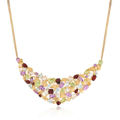 14.30 ct. t.w. Multi-Stone Leaf Motif Necklace in 18kt Gold Over Sterling Silver, , default
