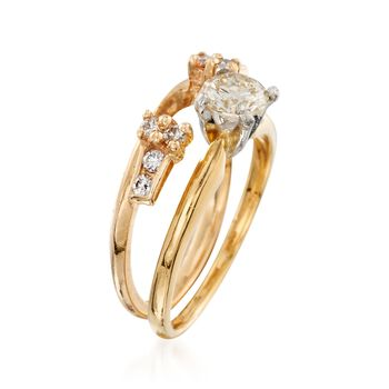 C. 1990 Vintage .65 ct. t.w. Diamond Bridal Set: Engagement and Wedding Rings in 14kt and 18kt Gold. Size 5, , default