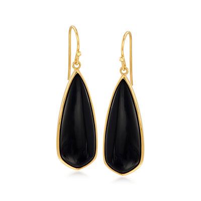 Black Onyx Teardrop Earrings in 18kt Gold Over Sterling