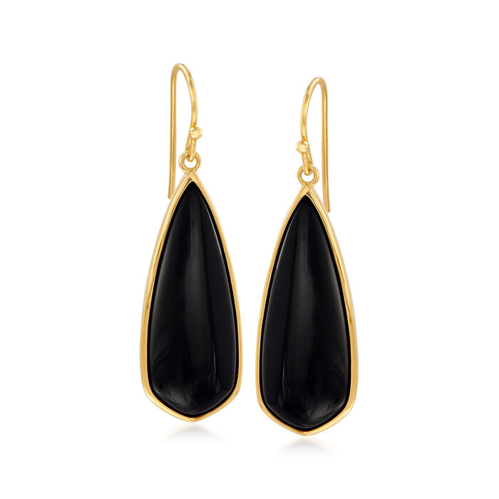 Black Onyx Teardrop Earrings in 18kt Gold Over Sterling