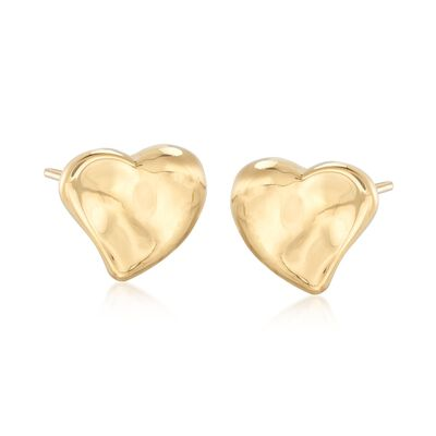 Italian 18kt Yellow Gold Heart Earrings