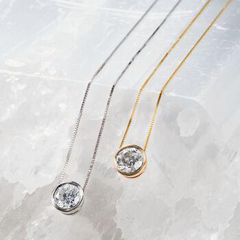 .75 Carat Bezel-Set Diamond Solitaire Necklace in 14kt White Gold, , default