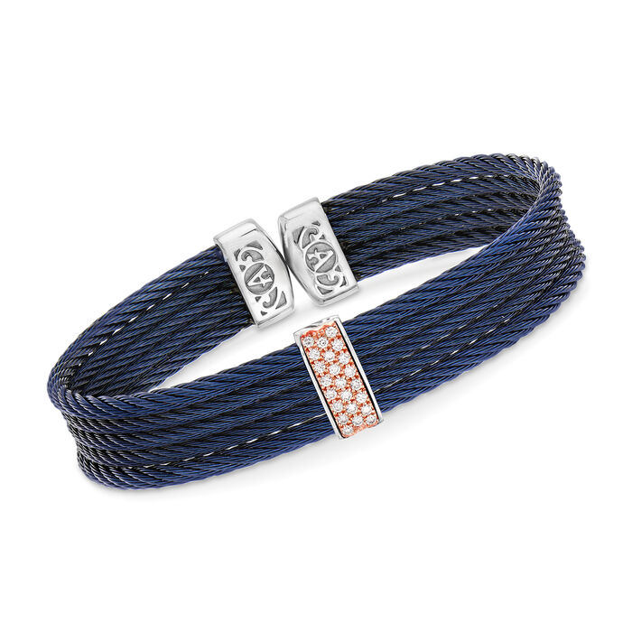 """ALOR """"Classique"""" Blue Stainless Steel Cable Cuff Bracelet with .19 ct. t.w. Diamonds and 18kt Rose Gold. 7"""", , default"""